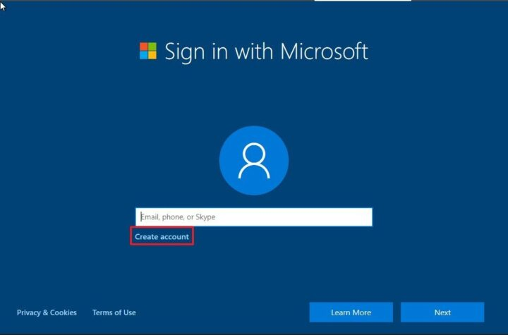 Microsoft for creating an account.